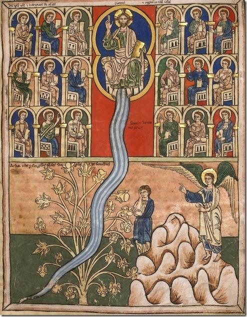 ונהר יוצא מישו ומשקה את העולם. פרט מתוך פרשנות לספר 'חזון יוחנן', המאה-12
