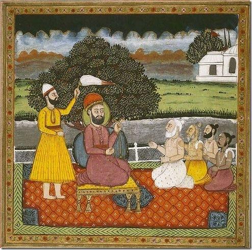 גורו נאנק, מייסק הדת הסיקית, נפגש עם אנשי דת הינדים, לצורך המרה. ציור מתחילת המאה ה-19