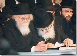 הרבנים שך (מימין) ואליישיב. (מקור: notti gozef ויקיפדיה)