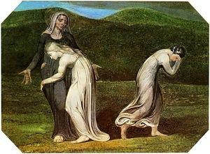 רות דבקה בנעמי, בעוד ערפה חוזרת למואב. וויליאם בלייק, 1795