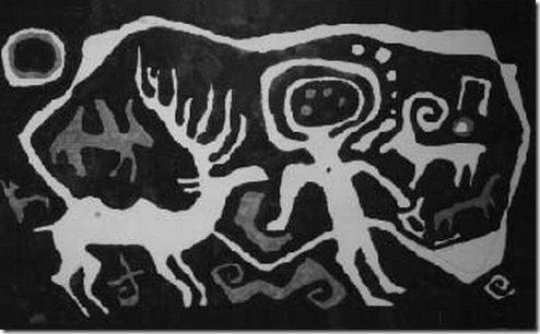 תעתיק של ציור המתאר (כנראה) שאמאן, ממרכז אסיה