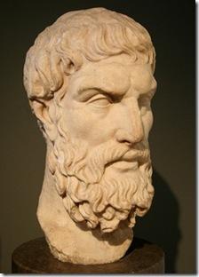 """דיוקנו של אפיקורוס, מהמאה השלישית או שנייה לפנה""""ס"""
