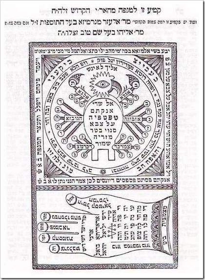 """קמע תוצרת האר""""י, מתוך שער היחודים לויטאל"""
