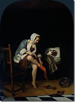 """""""אשה בחדר ההלבשה"""", תמונה של Jan Steen, המאה ה-17"""