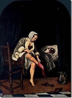 """שימו לב מה קרה לתמונה: ציירים מאוחרים יותר """"תיקנו"""" אותה בהתאם להנהגות שהיו נהוגות בזמנם: מתחת לחצאית הוסיפו תחתונית, ואת סיר הלילה הפכו לכד. רגליים חשופות ורמז לכך שהאישה עושה את צרכיה נראו פתאום נועזים מדי. השימוש בתמונות האלה כדי להדגים את תהליך התרבות לקוח מתוך מאמרו של גדי אלגזי על נורברט אליאס, זמנים, 70, אביב 2000. נעזרתי במאמר לצורך כתיבת הרשימה הזו."""