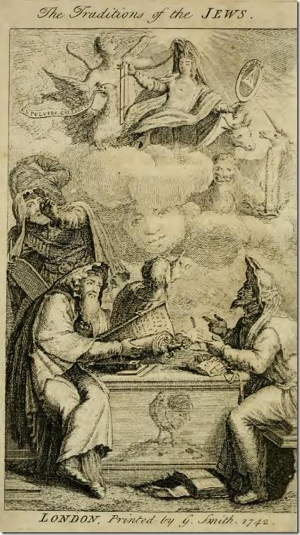 """העמוד הפותח של הספר """"מסורות היהודים"""" (1742, במקור בגרמנית, 1700), ממנו, בין השאר, למד סמית קבלה"""