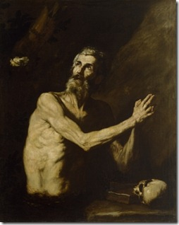 פאולוס ההרמיט הראשון, שחי כמאה שנה (במאות השלישית והרביעית) במדבר תבאי במצריים על חתיכות לחם שהביא לו עורב, ובילה את ימיו בתפילה למען ימחל האל על חטאיו ויקבלו. התמונה של José de Ribera (1591–1652)