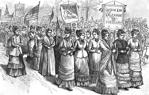 נשים מורמוניות מפגינות למען זכותן להנשא במשותף לגבר אחד
