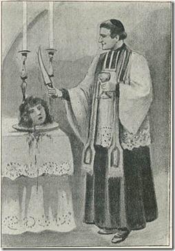 כומר קתולי בעת פולחן של מאגיה שחורה, משתמש בראש כרות של אישה, ייתכן מכשפה - מתוך: Roland Brévannes, L'Orgie Satanique à Travers les Siècles, Paris, Offenstadt, 1904