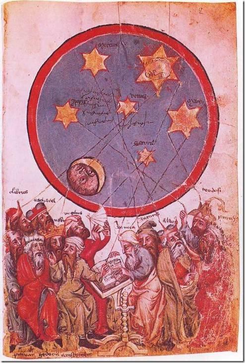 יצירה מהמאה ה-14 המציגה תריסר אסטרולוגים פגאנים, ביניהם אריסטו, ורגיליוס וסנקה