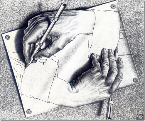Drawing Hands - Escher. Pic from Wikipedia