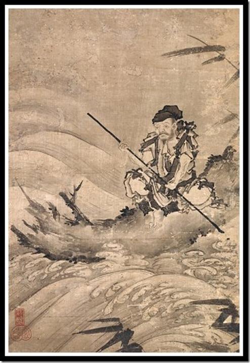 החוקר הסיני Choken על רפסודה, מאת האמן Maejima Soyu , שהיה פעיל באמצע המאה ה-16. אין לאיור אמנם קשר ישיר לרוחניות מזרחית, אבל הוא היחיד שמצאתי שמבטא את הרעיון.